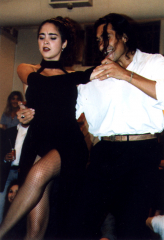Tango dancers perform a milonga