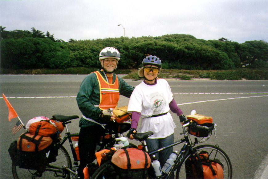 Pacific Coast bicycle tour Dick and Ingrid in full gear on a windy day