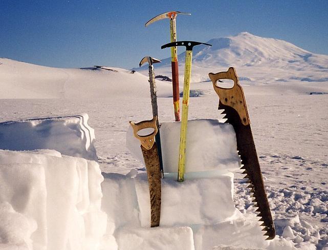 Antarctica pictorial 09 tools with Erebus