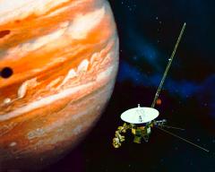 Voyager I flies past Jupiter