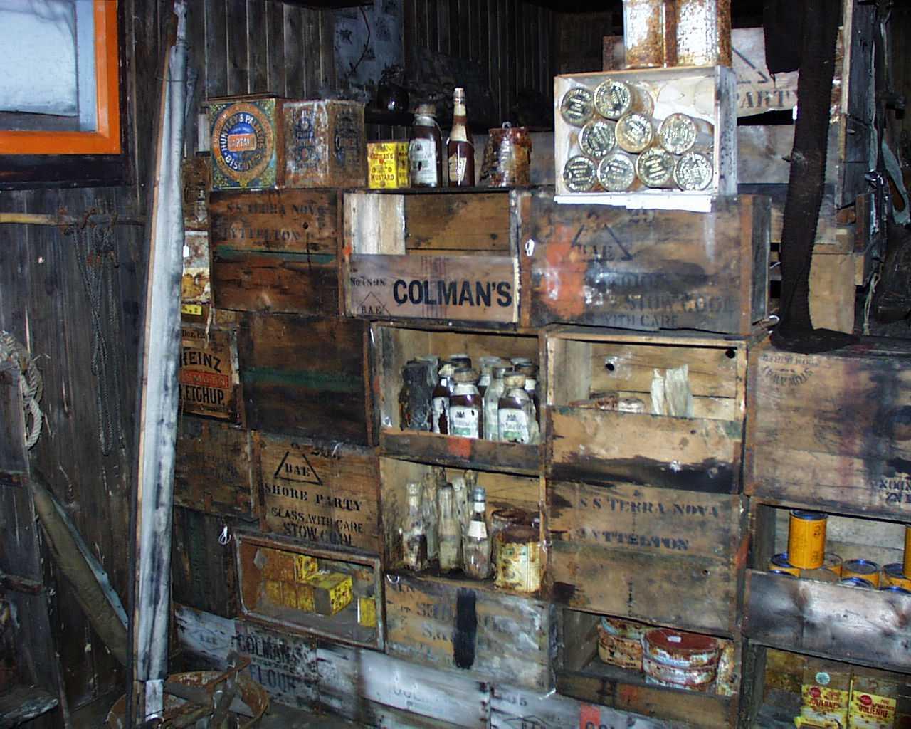 Supplies in Robert Scotts hut Cape Evans Antarctic