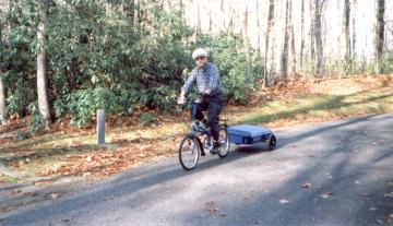 Richard Adams testing Bike Friday and bicycle trailer.