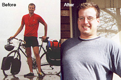 Scott Stoll before and after bicycling across the United States