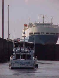 Mollie Milar wating for the Panama Canal gates