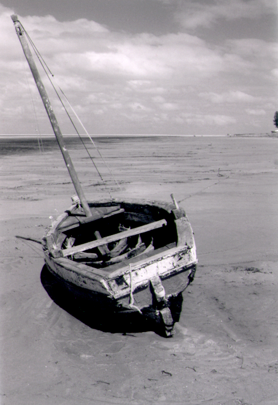 Beached ship on the Mozambique coastline.