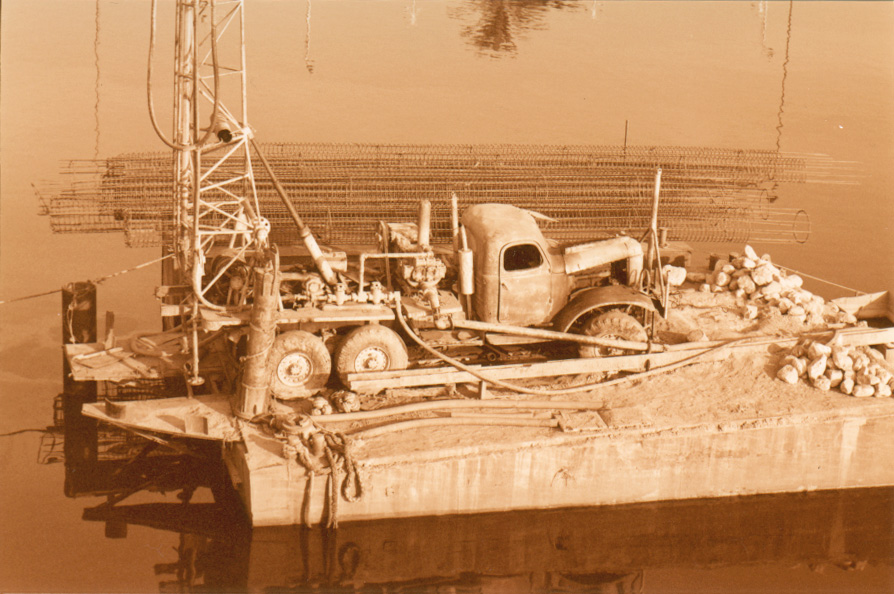 Old truck on a barge on the Nile