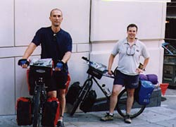 Dennis and Scott with fully loaded touring bikes