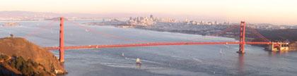 Golden Gate Bridge, San Francisco in the setting sun