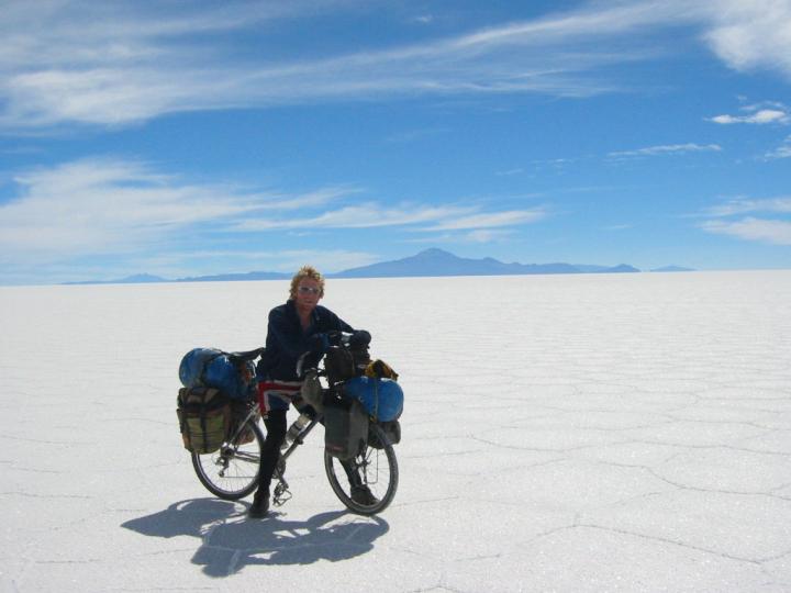 Alastair Humphreys, Salar de Uyuni, Bolivia. A bright, white landscape, almost like snow.