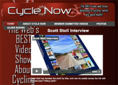 Screenshot of Cycle Now website and Falling Uphill book