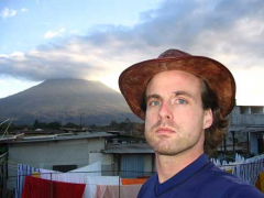 A selfie before cell phones were even invented. In the background is the ironically named Volcan Agua in Antigua, Guatemala.