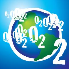 Global oxygen depletion logo. An illustration of the Earth  as a big O2 molecule.