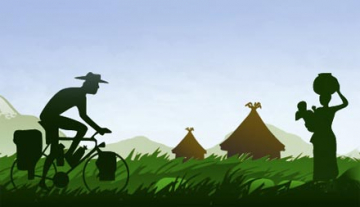 An illustration of Peter Gostelow cycling in past huts in Africa and a women with a baby and basked balanced on her head.