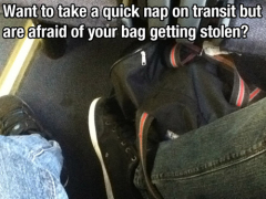 A foot inside the strap of a backpack to prevent thieves from snatch and run.