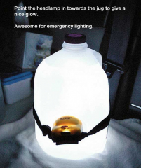 To make a lantern, wrap a headlamp around a water bottle with the lights pointing at the bottle.