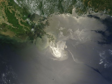 Gulf oil spill satellite view NASA