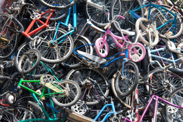 A pile of broken bicycles.