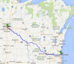 Wisconsin bicycle trip map. The bike route stretching from Minneapolis, just over the Mississippi River, through La Crosse, Madison and to Milwaukee.