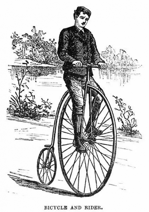 A wood engraving of a penny farthing from the 1870's.
