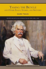 """Taming the Bicycle"" by Mark Twain book cover."