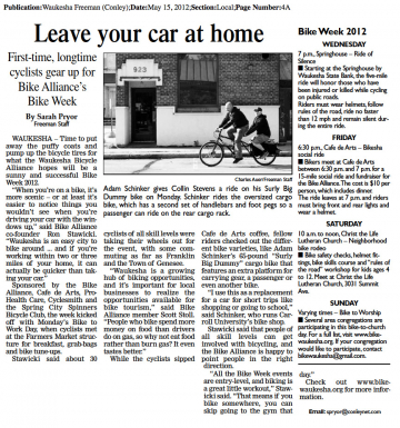 "Waukesha Freeman article ""Leave your car at home"""
