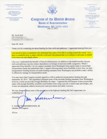 Hand signed letter from congress Congressman Sensenbrenner