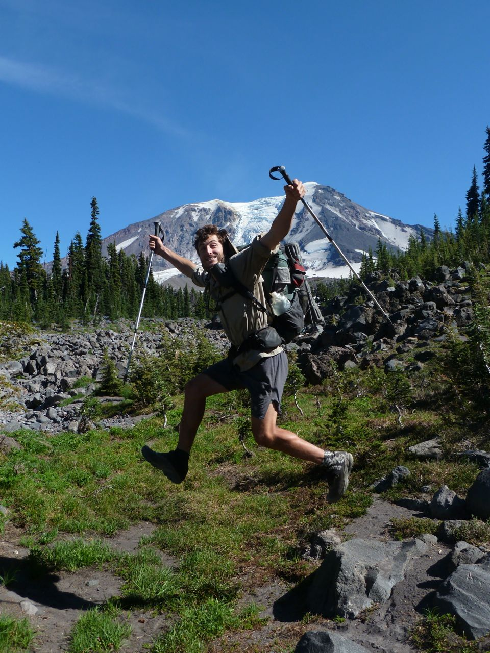 Karl Schmidt hiking the Pacific Crest Trail pictured here on Mount Adams