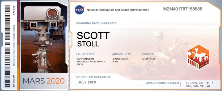 Scott Stolls ticket to Mars.