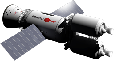 Mars One transporter spaceship with solar panels.