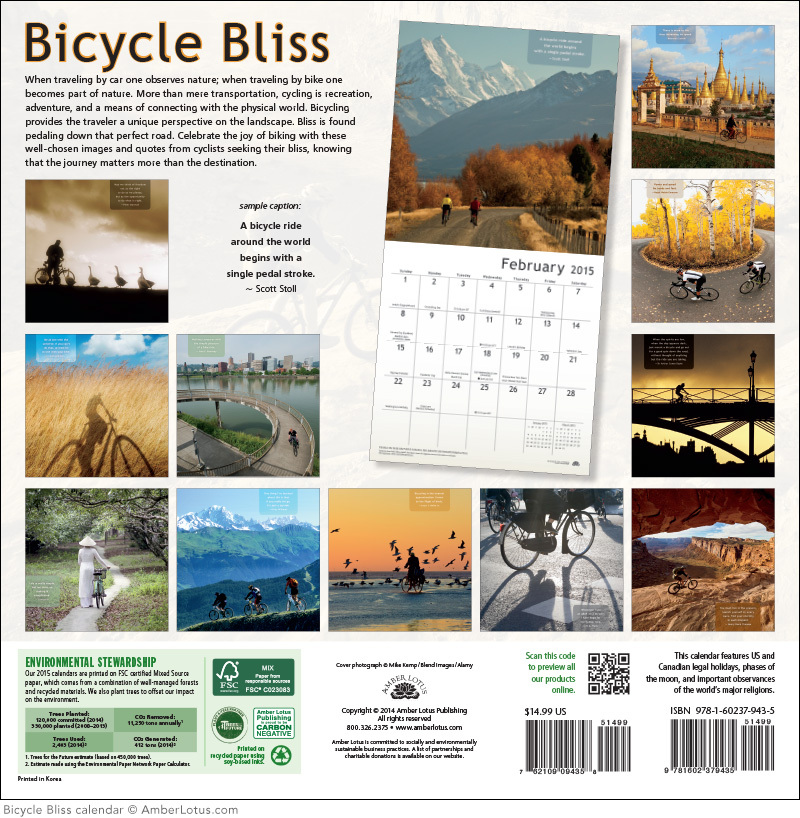 Bicycle Bliss Calendar back cover call out bike quote: A bicycle ride around the world begins with a single pedal stroke. Scott Stoll