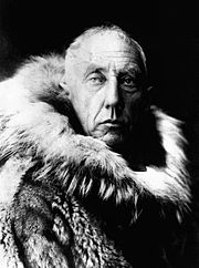 Adventure pioneer Roald Amundsen in fur skins