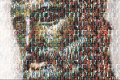 A close up of the artistic cover of the Hero With A Thousand Faces. Hundreds of real people, like a mosaic, paint the picture of a hero.