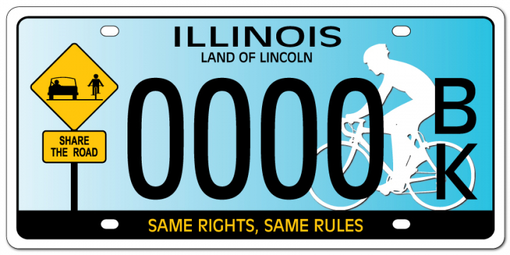 Share the Road. Same rights, same rules. License Plate. Bicycle Advocacy Slogan.