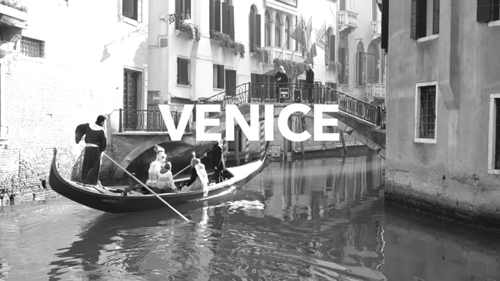 A gondola in the canals of Venice, Italy.