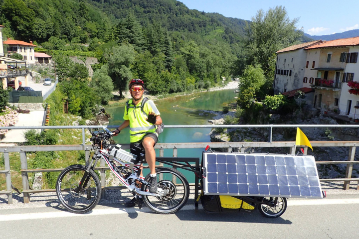Andrej Berlec and his Solar-Powered Bicycle.