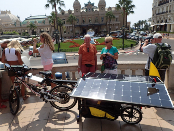 Solar-Powered Bicycle recharing in the sun.