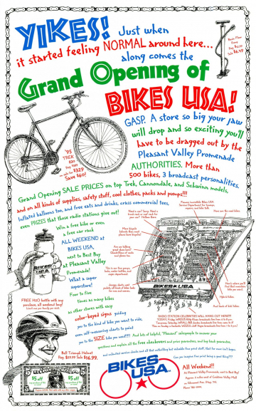 Bike USA ad, full-page, 4-color newspaper ad. This is the ad that got Scott fired from his job as art director.