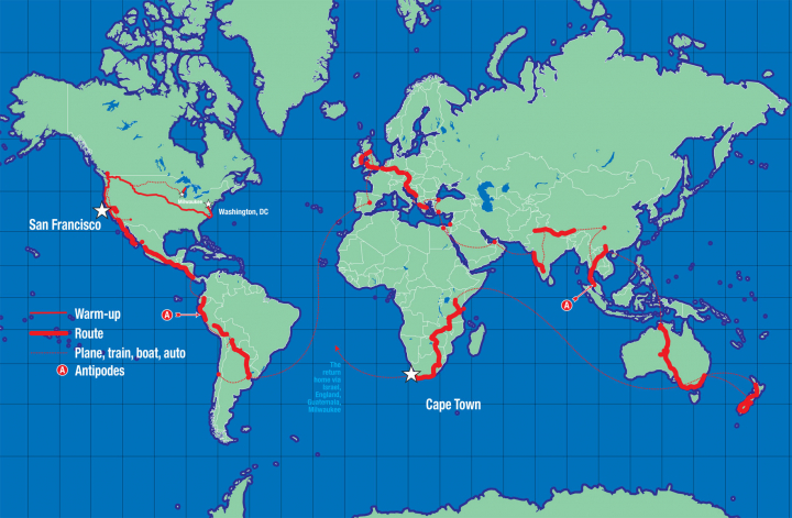 The map of Scott's World Bicycle Tour