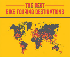Map of the 159 best bicycle touring destinations in the world.
