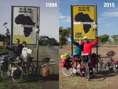Rachel Hugens and Patrick on the equator in Africa. Before and After. 1994 to 2015.