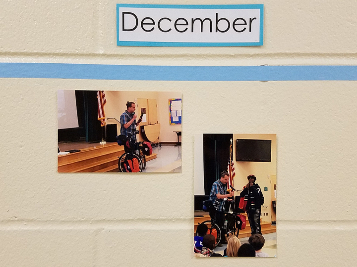 Photos of my slideshow made the school wall. Scotts slideshow how to bicycle the world
