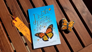 Mirabella the Monarch book, bookmark and cookie