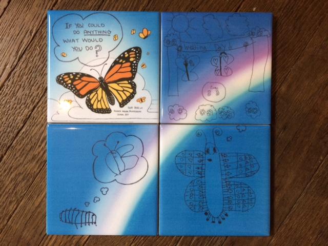 Butterfly-tile-mosiac-wall