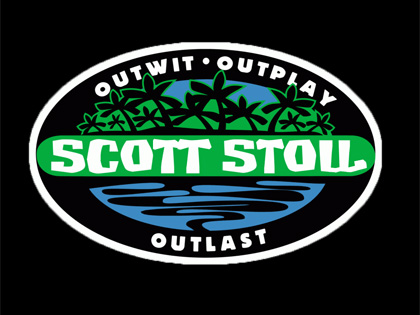 The original Survivor logo customized with Scott's name along with outwit, outplay, outlast.