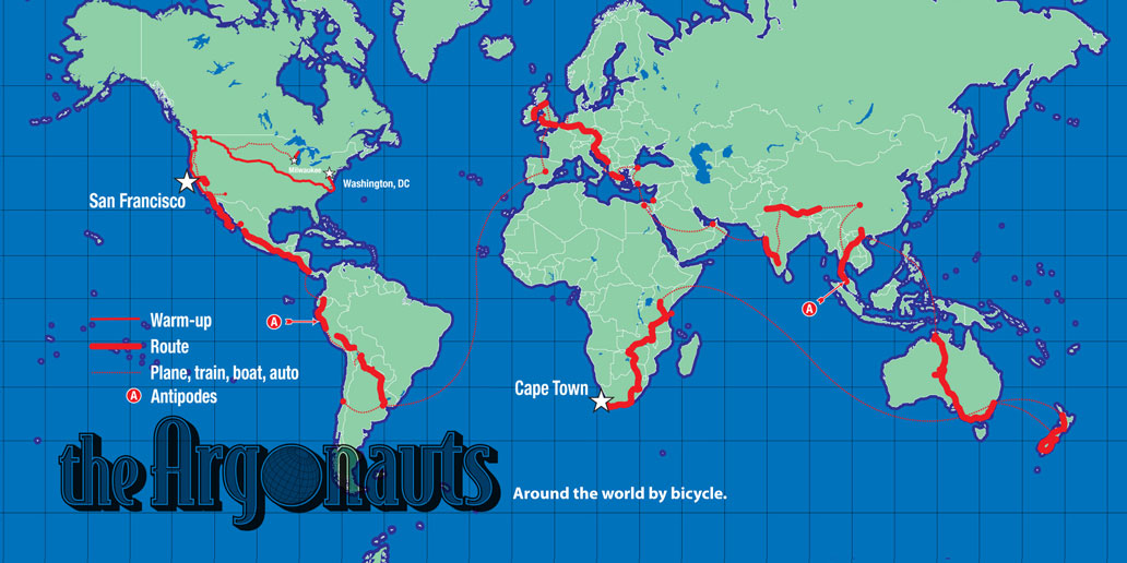 A world map of Scott's bicycle ride around the world