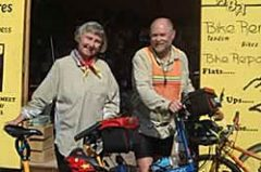 Dick and Ingrid Adams pictured on their bicycle trip in Alaska