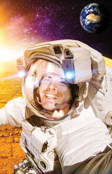 Scott in a Martian space suit.