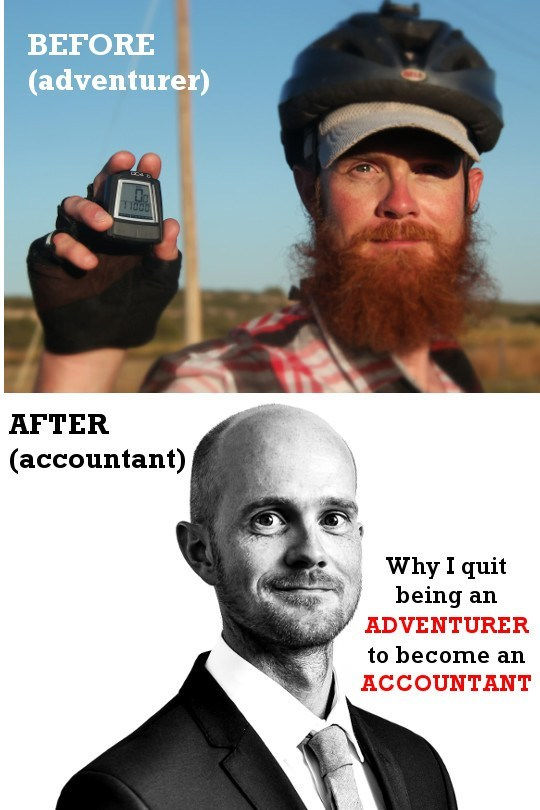 Tim Moss before (adventurer) and shaggy beard, and Tim Moss after (accountant) shaved head and suit and tie.