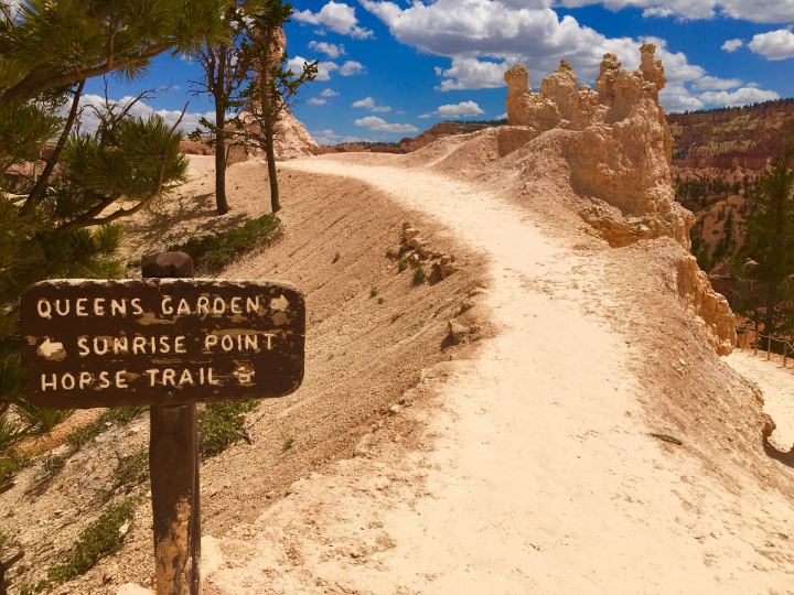 """A picturesque trail under blue sky and puffy clouds, and past sculpture-like hoodoos. A sign reads """"Queens garden. Sunrise point. Horse trail."""""""