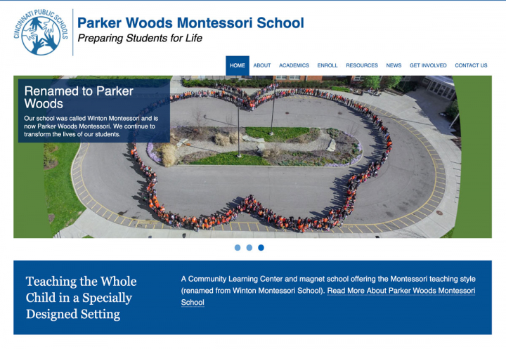 Parker Woods Montessori Elementary School website homepage featuring Scott's picture of the students in staff standing in the shape of a monarch butterfly. Notice the orange and black colors.